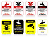 Set CCTV Warning Stickers — Stock Vector