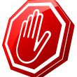 Stop Red Glossy Hand — Stock Vector