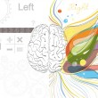 Stock Vector: The left and the right brain functions
