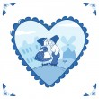 Sweet couple in Delft blue-style — Stock Vector