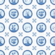 Stock Vector: Delft blue seamless pattern