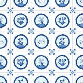 Delft blue seamless pattern — Stock Vector