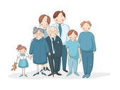 Big family with grandparents, parents and children — Stock Vector