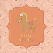 New Year card with funny cartoon horse — Stock Vector