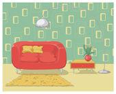Colorful illustration of a retro living room interior design — Stock Vector