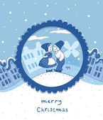 Delft blue Christmas card — Stock Vector