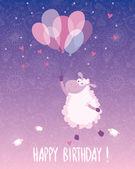 Verjaardagskaart ontwerpen met een zeer zoete schapen en ballonnen — Stockvector