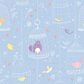 Seamless pattern with a cat, birds and birdcages — Stock Vector