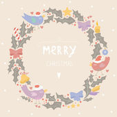 Pastel colored greeting card with a Christmas wreath — Stock Vector