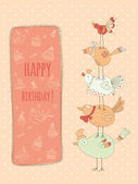 Doodle birthday card with birds — Stock Vector