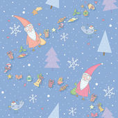 Seamless pattern with Santa Claus and gifts — Stock Vector