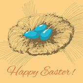 手工绘制的巢与复活节彩蛋 — 图库矢量图片