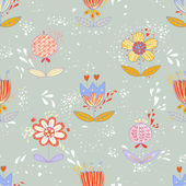Cute seamless pattern with colorful flowers — Stock Vector