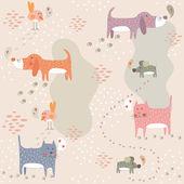 смешные бесшовный паттерн с милые животные — Cтоковый вектор
