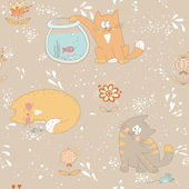 Hand drawn seamless pattern with little sweet kitties and flower — Stock Vector
