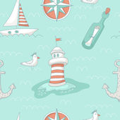 Nautical seamless pattern with a lighthouse, windrose, message b — Stock Vector