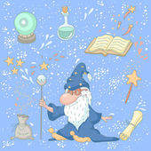 Magic set with a wizard, magic book, magic powder, crystal ball, — Stock Vector