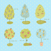 Collection of different doodle fruit trees — Wektor stockowy