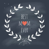Greeting card for the Mother's day with a laurel wreath — ストックベクタ