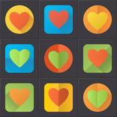 Colorful heart icons (flat design) — Stock Vector