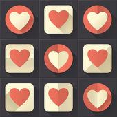 Barevné srdce ikony nastavit (plochý design) — Stock vektor