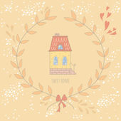 Tarjeta casa dulce colorida muy linda con una corona de flores — Vector de stock