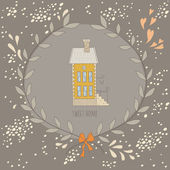 Sweet home illustration with a wreath and a very cute house — Vector de stock