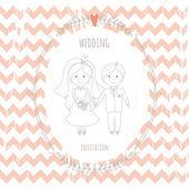 Wedding invitation with a very cute wedding couple — Stock Vector