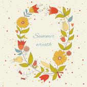 Beautiful summer wreath — Stock Vector