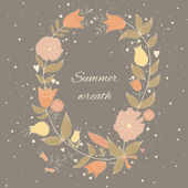 Beautiful summer wreath — Vector de stock