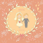 Wedding invitation with a very cute wedding couple on decorated — Cтоковый вектор