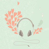 Illustration of a headphone with beautiful floral elements and h — Stock Vector