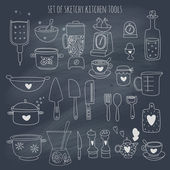 Kitchen set set on blackboard — Vector de stock