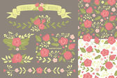 Set of floral elements and two seamless patterns for a wedding, — Stock Vector