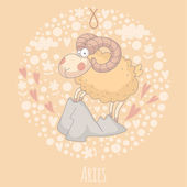 Cartoon illustration of Aries (Ram) — Vector de stock