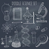 Doodle science set on blackboard — Vector de stock