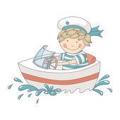 Cartoon of a little boy in a speed boat — Stock Vector