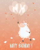 Birthday card design with a very cute sheep and balloons — 图库矢量图片