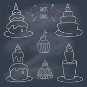 Set of cakes on blackboard — Vector de stock