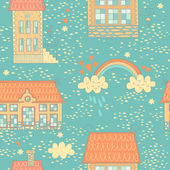 Seamless colorful pattern with cute houses and a rainbow — Stock Vector