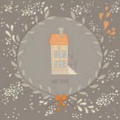 Sweet home illustration with a wreath and a very cute house — Stok Vektör