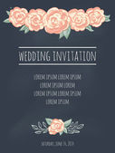 Wedding invitation template with roses on blackboard — Vector de stock