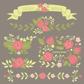 Set of floral elements for a wedding, birthday or Valentine's da — Stockvector