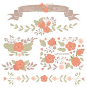 Set of floral elements for a wedding, birthday or Valentine's da — Vettoriale Stock