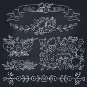Set of floral elements for a wedding, birthday or Valentine's da — Stok Vektör