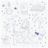 Magic doodle set on school notebook background — 图库矢量图片