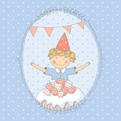 Cute colorful birthday card with a young boy and a cake — Stock Vector