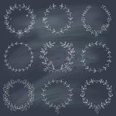 Set of 9 hand drawn wreaths on blackboard — Stock Vector