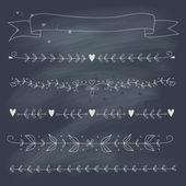 黒板に手描きの花要素のセット — ストックベクタ
