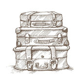 Hand drawn illustration of a stack of suitcases — Vector de stock